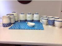 Blue and cream kitchen set