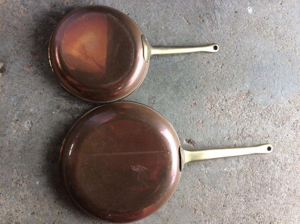 Antique brass frying pans