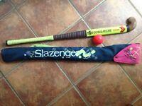 Hockey stick, bag and ball
