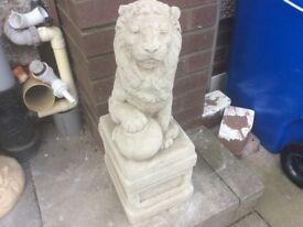 Concrete garden lion ornament