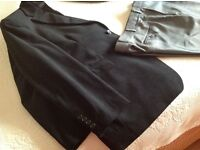 SMART FORMAL JACKET M&S BLACK FINE VELOUR & MID GREY with a sheen SMART TROUSERS (slim fit