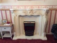 Marble-resin stone onyx surround fireplace louis french includes electric fire hse move quick sale