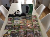 X box 360 boxed, 20 games including (minecraft, Lego marvel, fifa) 3 controllers, head set