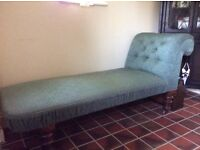 Antique day bed. Refurbished traditionally to a high standard Gainsborough fabric