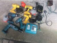 Job lot drills batteries and chargers for spares or repairs