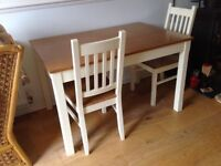 Country look /Shaker style extending dining room table and FOUR chairs (only two shown)