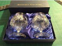 Box set of 2 Bohemia crystal brandy glasses