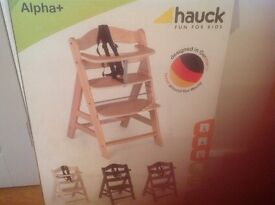 Hauck Alpha Highchair and seatpad -as new