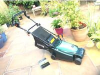 Hayter 36 electric lawnmower complete with grass-bag. Used twice