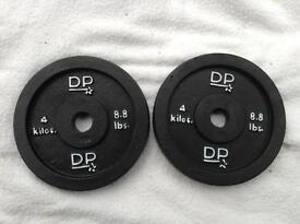 2 x 4kg DP Fitness Standrd Cast Iron Weights