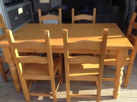 Farmhouse Style Dining Table & 6 Chairs