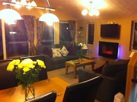 Privately Owned 2 bed Holiday Lodge overlooking lake at Haggerston Castle school, golf, short breaks
