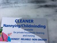 AVAILABLE FOR CLEANING/IRONING/CHILDMINDING