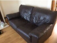 3 and 2 seater brown leather sofa