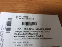 2 Tina Turner Musical tickets available for May 2nd