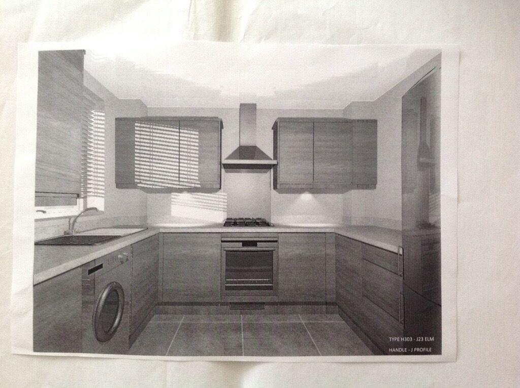 Brand New Kitchen High Gloss White Stone Grey Carcase