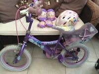 Disney princess 12 in bike with stabilisers and matching helmet and knee/elbow pads