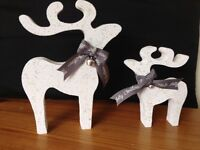Christmas star gazing reindeer decorations mother baby white glitter silver bells grey ribbon