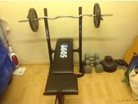 York weight bench,bar and metal weights.
