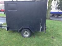 Box trailer ready to tow away