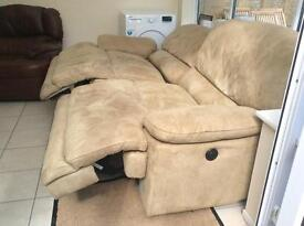 LEATHER SUEDE ? MATERIAL RECLINING SOFA ELECTRIC RECLINER*****CAN DELIVER
