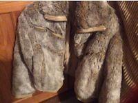 Fur Faux Ladies Jacket with leather look trim
