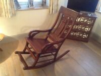 Lovely solid wood rocking chair, mahogany