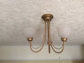 Bhs kelton table lamp with chocolate brown shade in stockport ceiling light and 1 x wall light in gold from next aloadofball Images