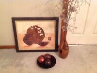 Copper vase,bowl & picture