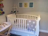 Sleigh Cot Bed - white. RRP £299.99