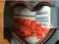 2 x Marks and Spencer Silicone Cake moulds/ Tins heart shaped