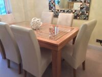 Modern solid oak glass table 6 leather chairs , side board cabinet