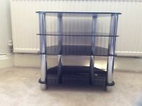 4 shelf black and chrome tv/media unit