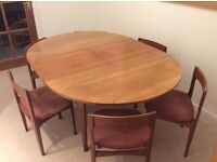 Teak Table 122x122cms extending to 166cms and 6 chairs