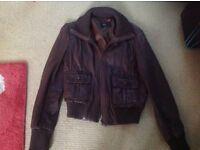 Ladies real brown leather jacket size 14