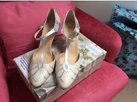 Unworn, new Art Deco Rachel Simpson Gardinia wedding shoes