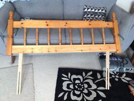 Pine double bed headboard