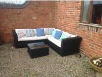 Rattan sofa set with coffee table