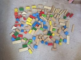 Kids wooden building blocks. 150 in total. Ideal Christmas present. Various shapes,colours,sizes.