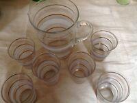 Vintage glassware- jug, glasses, trifle dishes