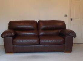 M&S Brown Leather Sofa. Large 2 Seater