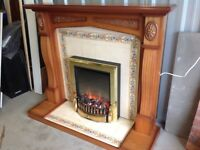 Fireplace with Tile Hearth and back, plus Electric fire with heater in Excellent condition.