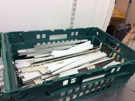 Shelving brackets and shelves, fittings, work top and fan for sale