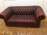 STUNNING! 2 Seater Ox Blood Chesterfield Sofa