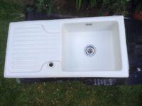 Ceramic white kitchen sink