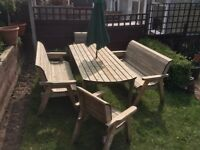 Garden furniture wooden Charles Taylor Table and Chairs Seats 8 with parasol