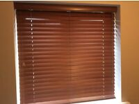 Wooden Venetian blinds complete with fixings.