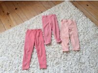 3x pink leggings 2-3 years good condition