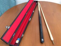 2 piece pool cue and hard carry case