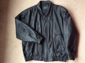 Men's black leather bomber jacket Size XL.
